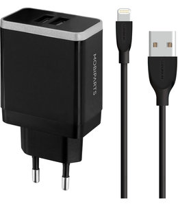 Mobiparts Mobiparts Wall Charger Dual USB 2.4A + Lightning Cable Black