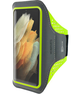 Mobiparts Mobiparts Comfort Fit Sport Armband Samsung Galaxy S21 Ultra Neon Green
