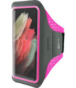 Mobiparts Mobiparts Comfort Fit Sport Armband Samsung Galaxy S21 Ultra Neon Pink