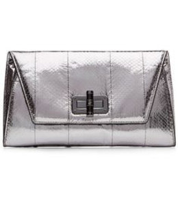 DVF Leather Python-Embossed Clutch