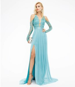 CRISTALLINI COUTURE Lace Silk Evening Dress