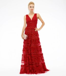 MARCHESA NOTTE Wine Red Ball Gown