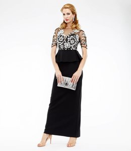 MARCHESA NOTTE Black Peplum Dress