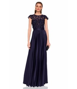 NISSA Dress With 3D Flowers And Pleated Skirt