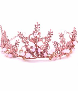 HAND MADE Pink Matt Crystal Beaded Tiara