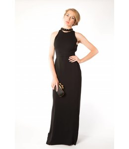 HALSTON Open Back Black Gown
