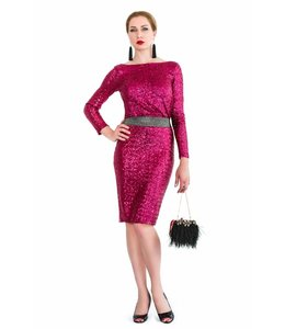 ELISABETTA FRANCHI Red Sequin Dress With Open Back