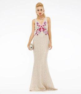 MARCHESA NOTTE % Blumenverziertes Abendkleid