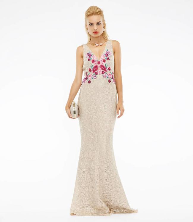 MARCHESA NOTTE Blumenverziertes Abendkleid