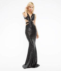CRISTALLINI COUTURE % Schwarzes Abendkleid Aus Pailletten