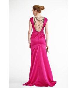 LANA CAPRINA % Pinkes Rückenfreies Abendkleid