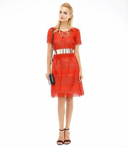 MARCHESA NOTTE Red Lace Mini Dress