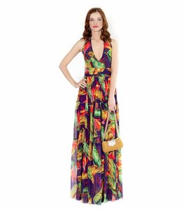ALESSANDO LEGORA Printed Open Back Dress
