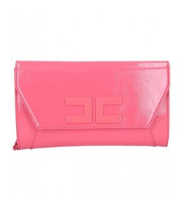 ELISABETTA FRANCHI CLUTCH BAG WITH LOGO AND WRIST CHAIN