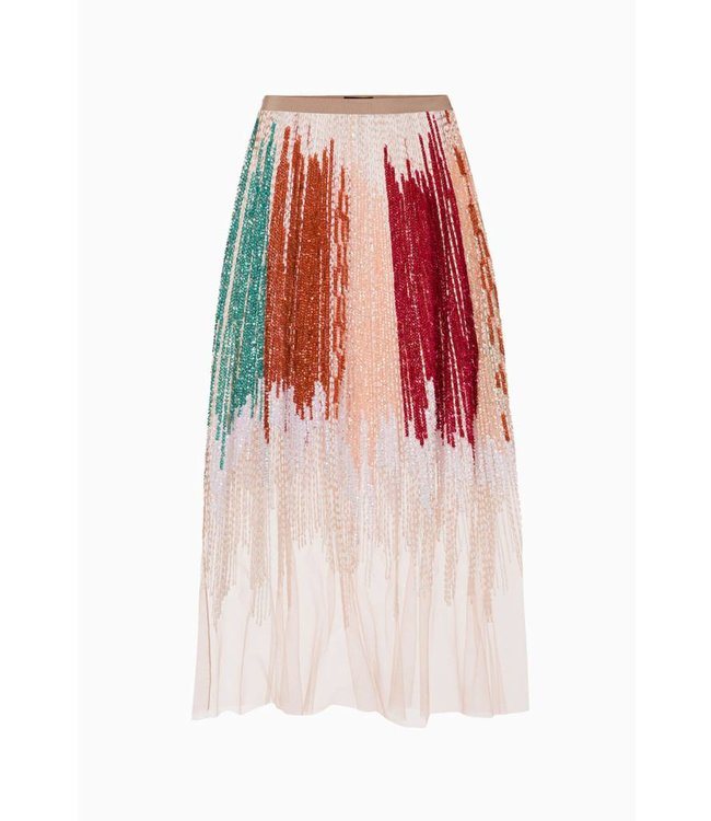 ELISABETTA FRANCHI Embroidered tulle skirt