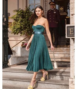 ELISABETTA FRANCHI Green Sleeveless Dress With Belt