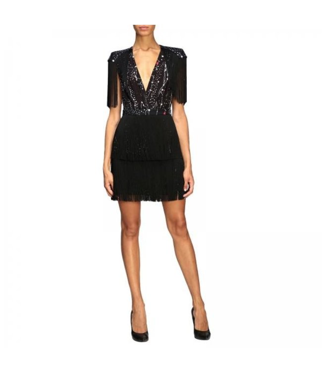 ELISABETTA FRANCHI Dress With Stars And Fringes