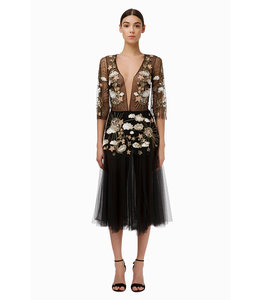 ELISABETTA FRANCHI Dress in embroidered tulle fabric