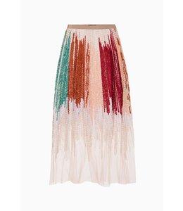 ELISABETTA FRANCHI %Embroidered tulle skirt