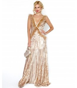 FASHION EMERGENCY %Nude Sequin  Dress With Ostrich Feather