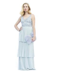 % Besticktes Kleid mit Plissiertem Rock