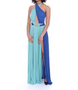 ELISABETTA FRANCHI Blue long dress with belt