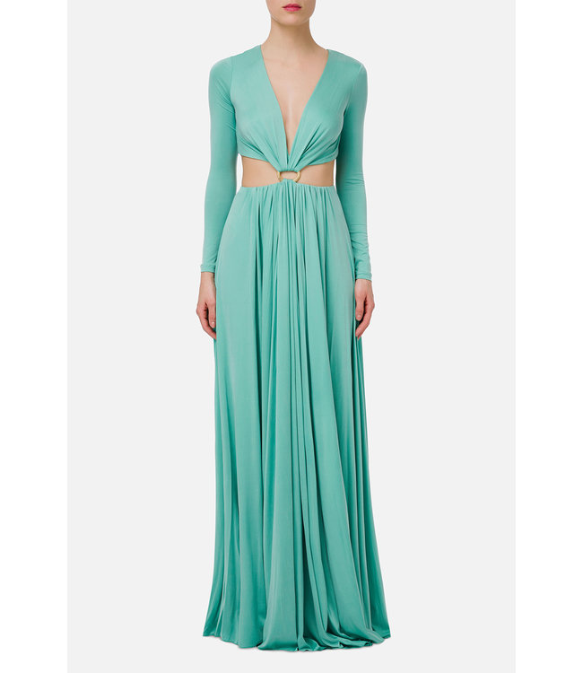 ELISABETTA FRANCHI Long dress with buckle and cut-out