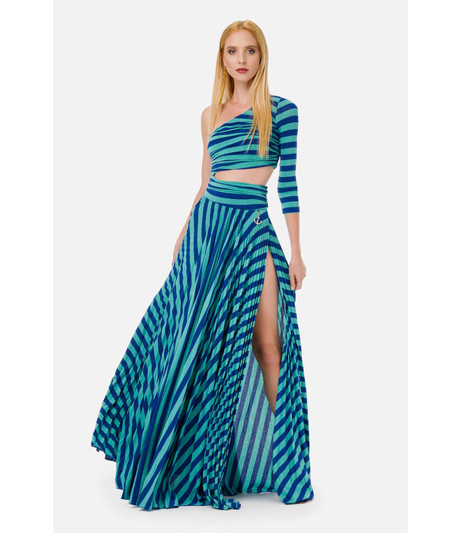 ELISABETTA FRANCHI Long dress with stripe print