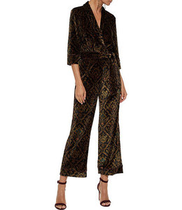 %Wrap-effect printed velvet jumpsuit