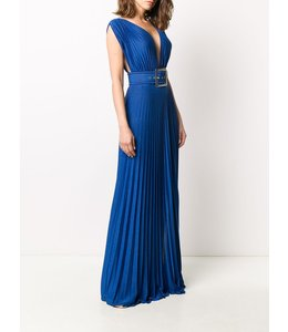 ELISABETTA FRANCHI Blue Long Dress With Slit
