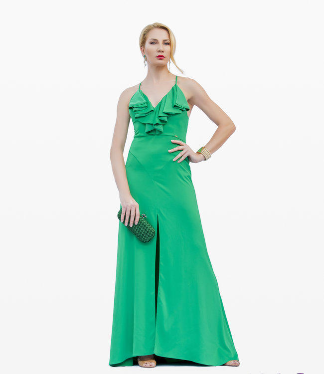 The sleeveless green  gown