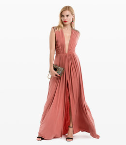 ELISABETTA FRANCHI Long Dress With V-Neck