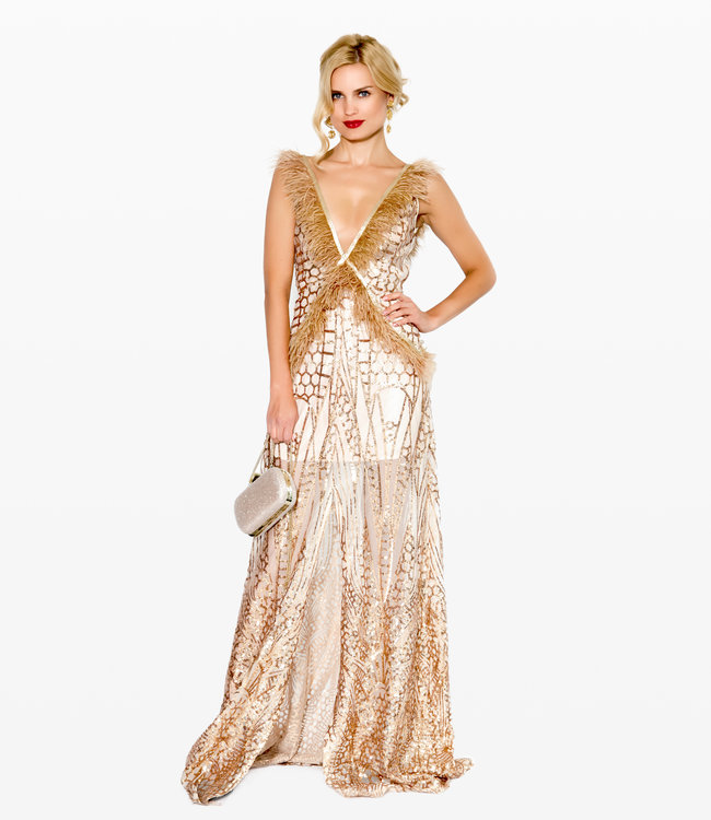 FASHION EMERGENCY Nude Sequin  Dress With Ostrich Feather