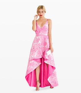LANA CAPRINA Asymmetrical Dress In Fuxia