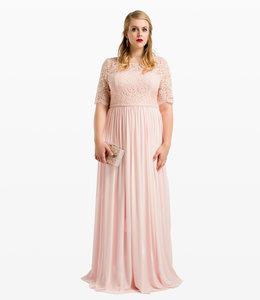 NISSA Maxi Dress With Lace Top