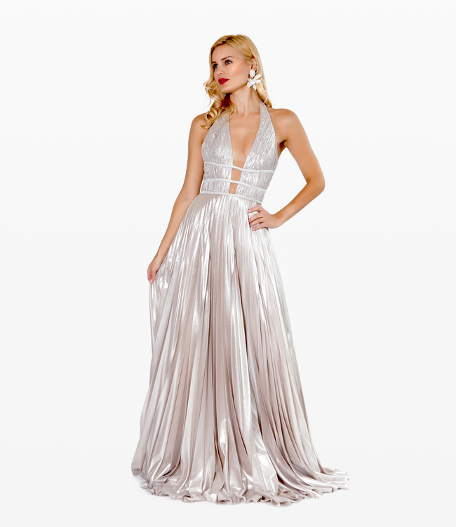 NISSA Long  Elegant Dess With Deep Neckline