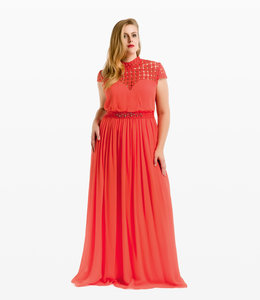 NISSA Coral Silk Dress With Lace Detail