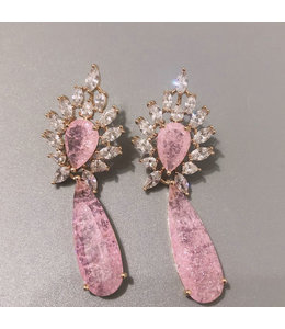 Bilincolor fashion golden pink earring