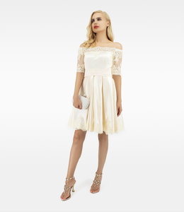 FASHION EMERGENCY Ivory  shoulder Off Dress