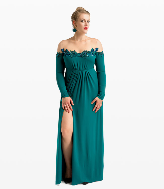 ELISABETTA FRANCHI Long Dress With Star Emroidery