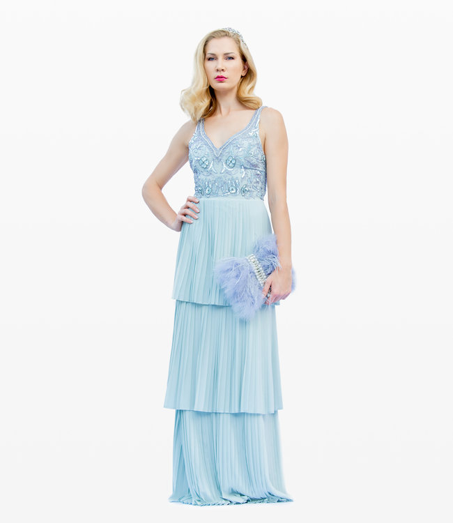 FASHION EMERGENCY  Bridesmaid Dress With Tiered Ruffle Pleated Skirt