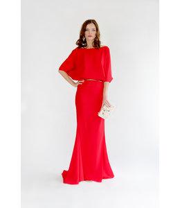 ALESSANDO LEGORA Rotes Kleid mit Wasserfall-Ausschnitt