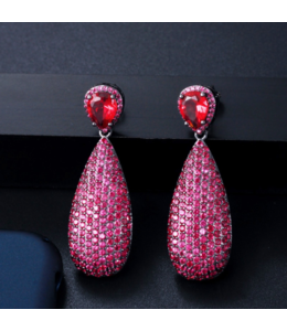Pink Water Drop Earring
