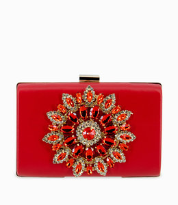 HAND MADE Luxury Red Diamonds Flower Women Clutch