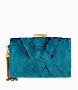 FASHION EMERGENCY Blue  Velvet  Clutch