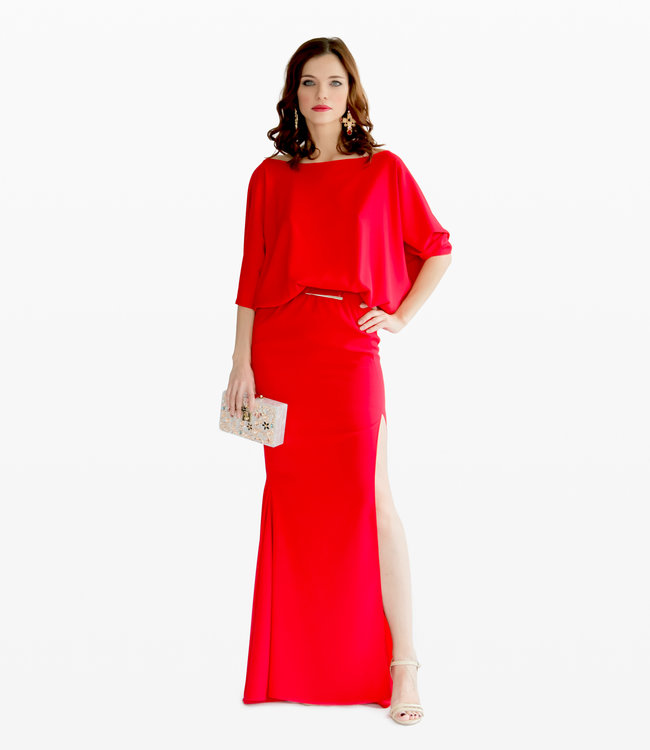ALESSANDO LEGORA Red Open Back Dress