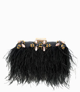 FASHION EMERGENCY Leathet Bag With Ostrich Feder