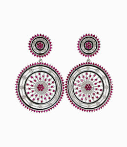 Silver- Pink Drop Earring