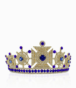 HAND MADE Fashion Gold-Blau  Tiara