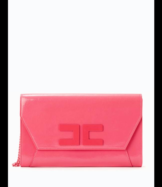 ELISABETTA FRANCHI Clutch bag with logo and wrist chain